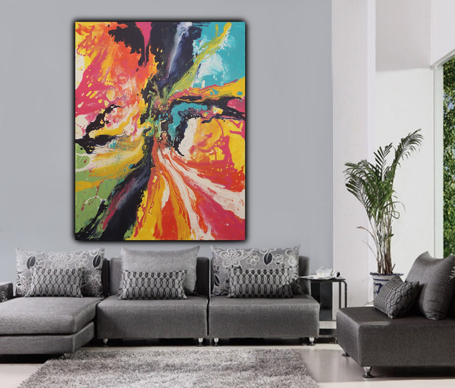 Original Large Modern Fluid Liquid Abstract Painting On Canvas Wall