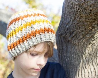 Crochet Unisex Cable Beanie in Oatmeal, Pumpkin Orange and Mustard, Ready to ship, Crochet Hat, Warm Winter Hat, Men's Beanie, Women's Toque