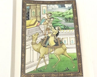 Framed Gouache Watercolor Painting Card of Man And Girl On Camel Modern India
