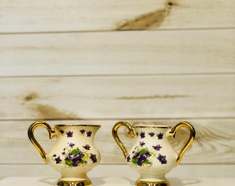 Antique Reproduction Sugar Creamer with Violets 22K Gold