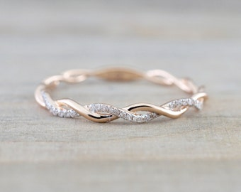 14k Rose Gold Round Cut Diamond Rope Twined Vine Engagement Pave Stackable Stacking Promise Ring Anniversary