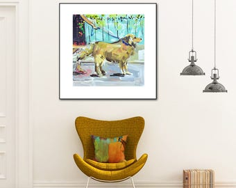 Girl with dog, flip flops, Golden Retriever