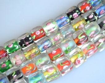 Cube Shape With Flower Lampwork Glass Beads Size Approx.9x9x10mm and 11x11x11mm Full Strands