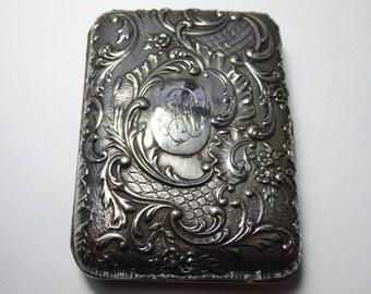 Sterling Silver Cigarette Case Vesta Calling Cards French Steam Punk Rococo Victorian