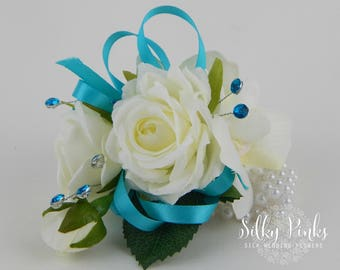 Wrist Corsage,  Ivory Rose Corsage, Wedding Flowers, Silk Wedding Flowers, Flower Wrist Corsage, Wedding Flowers