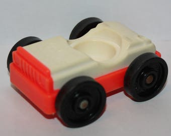 Vintage Fisher Price Little People Red White Car