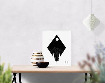 mountain landscape |  handmade print | home decor | minimal art