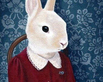 Mrs Rabbit - Giclee print of original painting