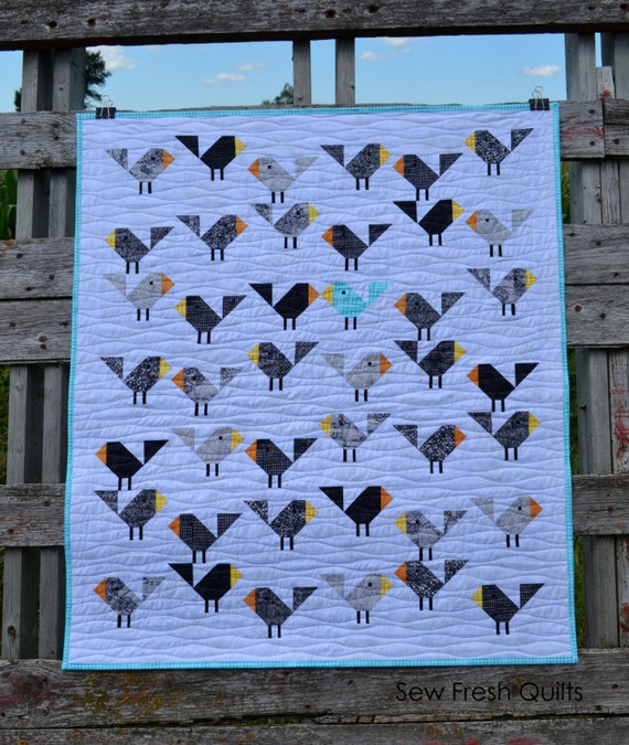 Black Birds Quilt Pattern PDF Instant Download modern : bird quilt pattern - Adamdwight.com