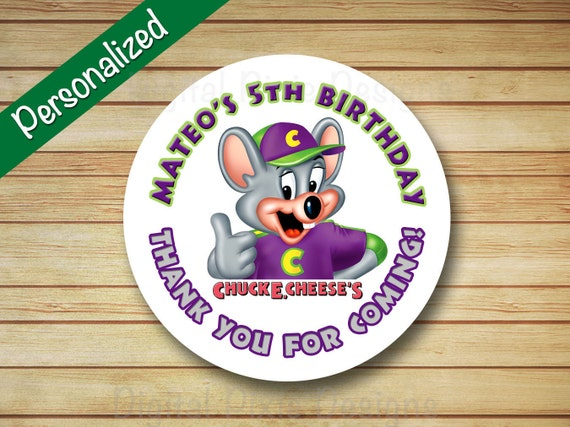 40 PRINTED CHUCK e CHEESES Birthday Party Stickers Round