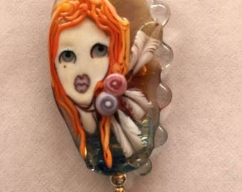 Lampwork focal bead necklace...red headed Indian bead by Val Vaania