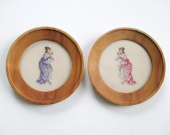 Petit Point French Ladies 18th Century Pair Round Wood Frames with Glass Pink Lavender