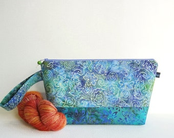 Wedge Bag, Small-Project Knitting Bag, Batik, blue flowers and leaves