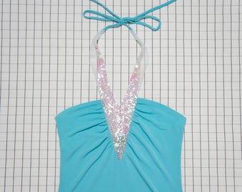 90's Halter, Aqua Blue Ocean Goddess Holographic Sequin Halter, Mermaid Top, Vapor Wave, Babe, Aesthetic, Tumblr, S