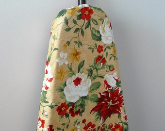 Ironing Board Cover - white roses and red poinsettia on butter cream.