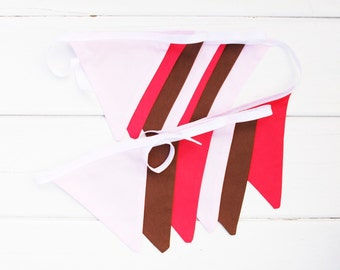 "Good Will Bunting ""Delicious"" Pink Brown Coral Red Fabric Bunting"