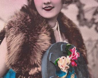 Vintage French romantic woman postcard. Romantic woman.
