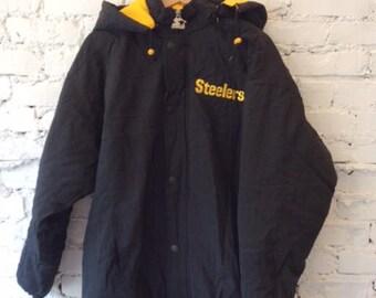 Vintage Pittsburgh Steelers Starter Jacket / Size Large / 90s 1990s / Puffer Coat / NFL / Football