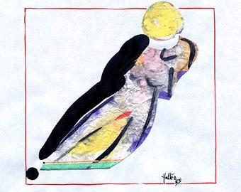Nu femme 3. Aquarelle, encre de chine, crayon gras noir et collage papier sur feuille de bloc à dessin esquisse