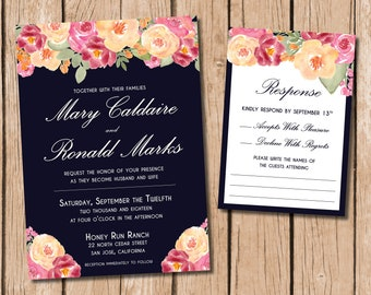 PRINTABLE Floral and Navy Wedding Invitation and RSVP