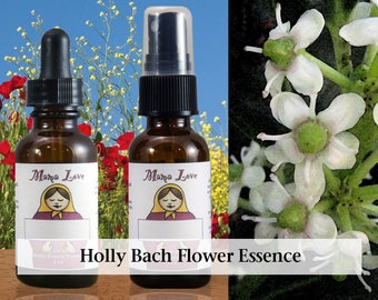 Holly Flower Essence, 1 oz Dropper or Spray for Love, Compassion, Open Heart