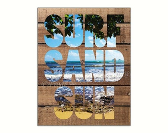 Surf Sand Sun Shiplap Canvas Wall Art Print