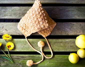 READY TO SHIP Bonnet beanie Pixie- baby, newborn, girl, boy, toddler,child, hat, winter,crochet, organic, ethical, merino wool