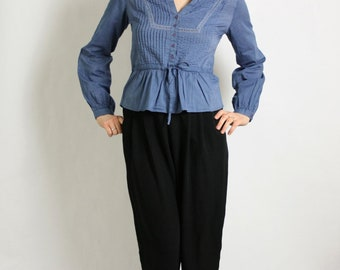 Vintage 80's 90's Dirty Blue V-Neck Button Front Long Sleeves Cotton Blouse
