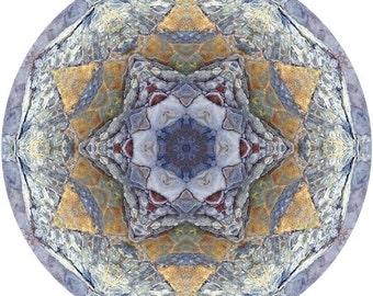 Mandala Art, Abstract Nature Print, Geometric Art Print, Peaceful Round Art, Fine Art Print in Slate Blue & Orange