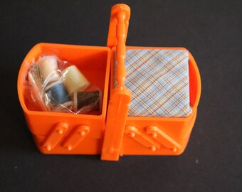 Vintage New Orange Sewing Caddy
