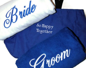 BRIDE & GROOM BEACH Towels with Tote Bag Embroidered 100% Cotton Terry Velour Bridal or Couple Shower or Wedding Gifts - Made To Order