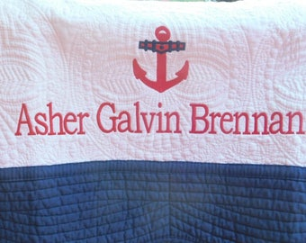 Monogrammed Nautical Baby Quilt with Navy Trim-  Personalized Baby Blanket