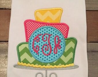 Birthday cake applique shirt, 3 tier birthday cake, birthday cake with initials applique shirt, girl birthday shirt, SSD-37