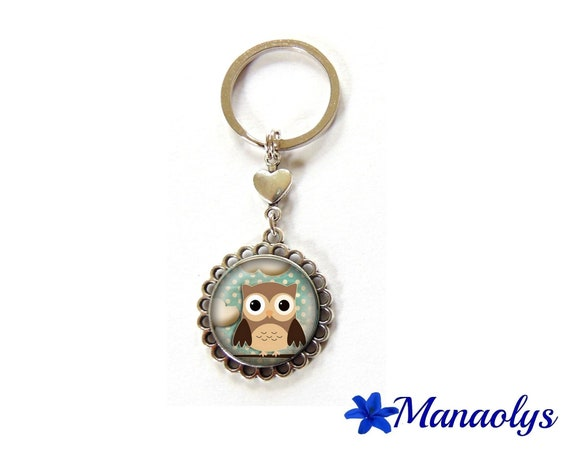 Door keys or jewelry bag owl, owl, Brown and blue, 41 glass cabochons