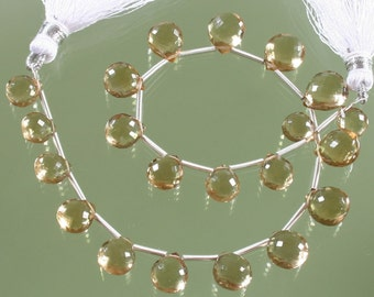 AAA Champagne Citrine Micro Faceted Heart Briolettes
