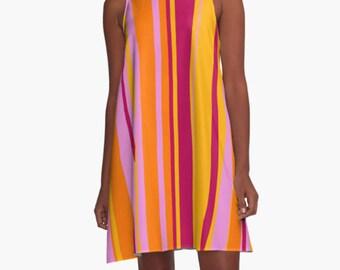 Dress, Party Dress, Womens Gift, Summer Dress,  Retro Dress, XL Dress, Retro, Mini Dress, Mod Dress, Pink Dress, Casual Dress