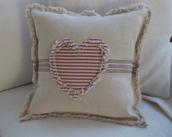 Heart Pillow Grain Sack Pillow Ticking Heart Frayed Edge Pillow Sham Custom Sizes and Fabrics Insert Available
