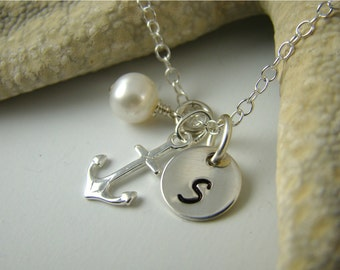 Personalized Bridesmaid Gift Set of 5 Anchor Necklaces, Wedding Jewelry, 925 Sterling Silver, Pearl
