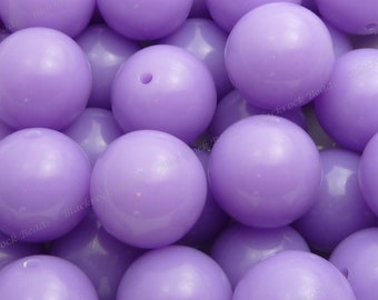 20mm Lilac Purple Chunky Bubblegum Beads - 10pcs - Candy Color Gumball Beads, Chunky Beads, Round Acrylic Beads - BR1-12