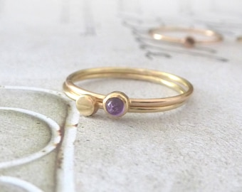 Set of Stacking Rings - Amethyst and 9ct yellow gold