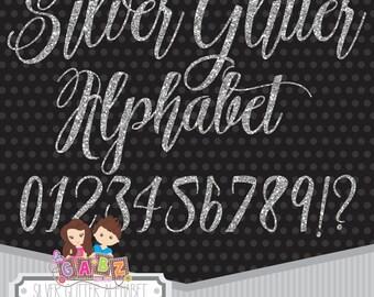 Silver Glitter Alphabet, Clipart, Glitter Alphabet Clip Art, Silver Glitter Letters, Silver Digital Alphabet Letters, Glitter Alphabet, Gabz