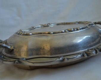 Vintage English Silver MFG Corp Serving Platter with Lid