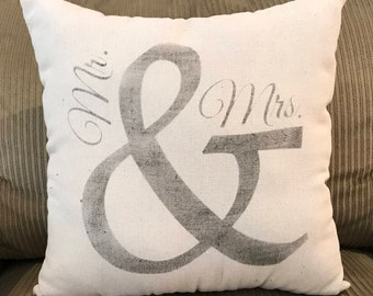 Mr & Mrs Grain sack Pillow