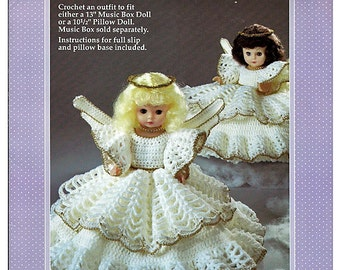Christmas Angel Pillow Doll, Music Box Doll, or Bed Doll Crochet Pattern Fibre Craft FCM225