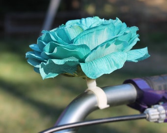 Blue Rose - Clip on Silk Flowers for Bikes