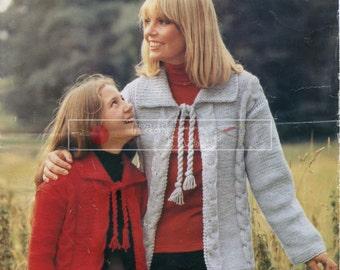 Lady & Girl's Cardigan Chunky 24-38in Sirdar 5931 Sirdar 5931 Vintage Knitting Pattern PDF instant download