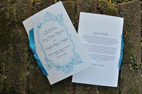 100 Vintage HalfFold Wedding Programs with Ribbon