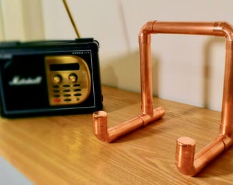 Copper Pipe Cookbook / Ipad / Tablet Stand Industrial Retro - Made to order to fit any size tablet / Ipad