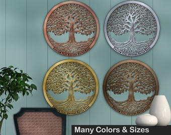 Tree of Life 12in Baltic Birch Metallic Base Wall Art w/ Optional Custom Text