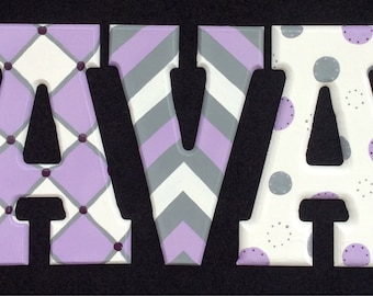 Modern Purple And Gray Hand Painted Letters